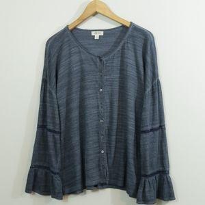 Style & Company Cotton Crochet Trim Boho Top